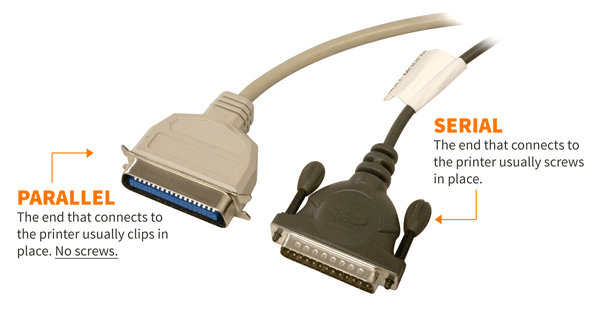 How to tell Serial and Parallel cables apart while plugged in.